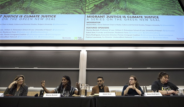 Panelist: Naomi Klein, Maxine Burkett, Patrice Lawrence, Maria Alegria Rodriguez and Saket Soni are seen during a panel discussion, Migrant Justice Is Climate Justice:  A Series On The Green New Deal, by Institute For Women's Leadership, Rutgers University, Tuesday, February 25, 2020, in New Brunswick, N.J.  (Photo/Mel Evans)